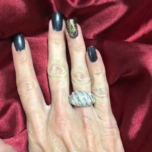 Diamonique Cocktail Ring. Women's size 5